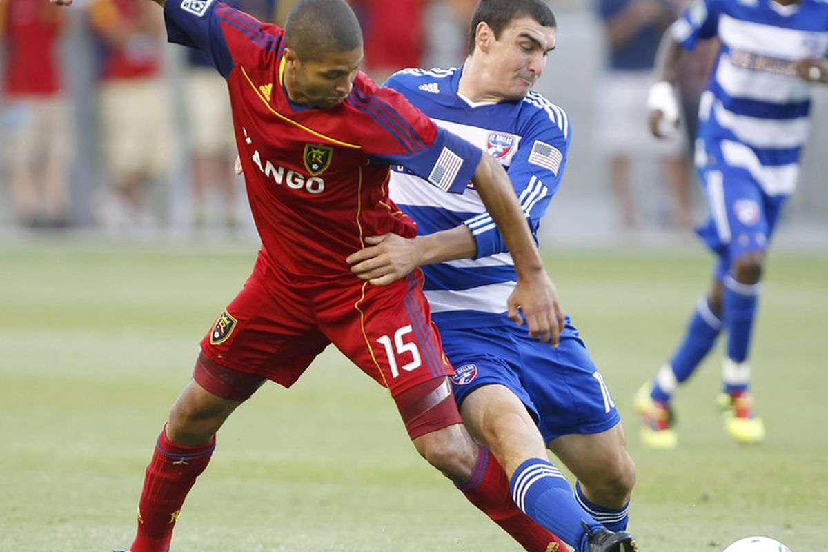 SANDY, UT - JULY 9: Alvaro Saborio #15 of Real Salt Lake and Bobby Warshaw #16 of FC Dallas fights for the ball during the first half of an MLS soccer game July 9, 2011 at Rio Tinto Stadium in Sandy, Utah. (Photo by George Frey/Getty Images)