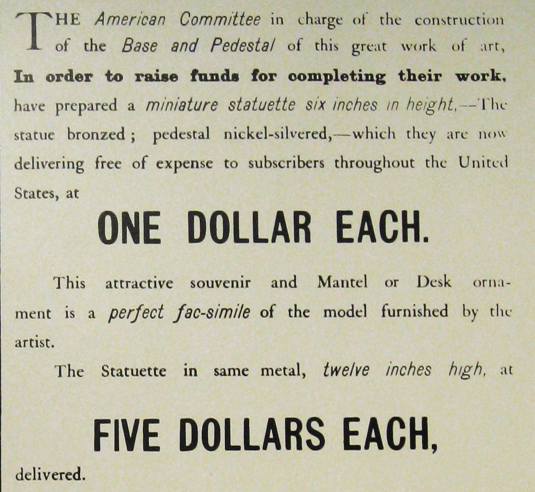 One of the ads for the Pedestal Fund. (New York World)