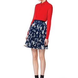 Look 10: Long-Sleeved Pointelle Sweater in Red, $39.99 Also Available in Belize Blue Pleated Cap-Sleeved Blouse in Red, $26, 99 Also Available in Gold (Available at Target.com only) Pleated Skirt in Navy Floral, $29.99 Also Available in Solid Black