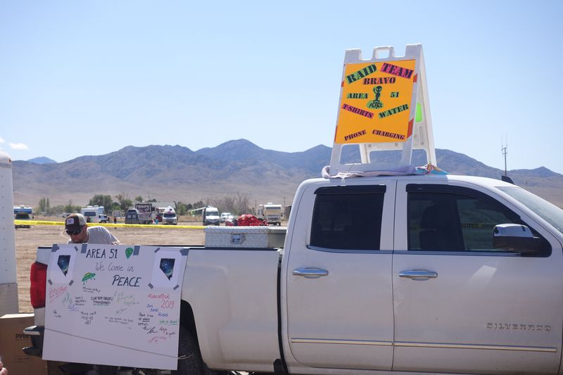 A photo of a truck selling shirts and water, etc. in Rachel, Nevada.