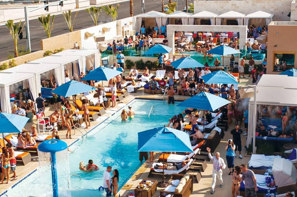 Overhead of crowded pool