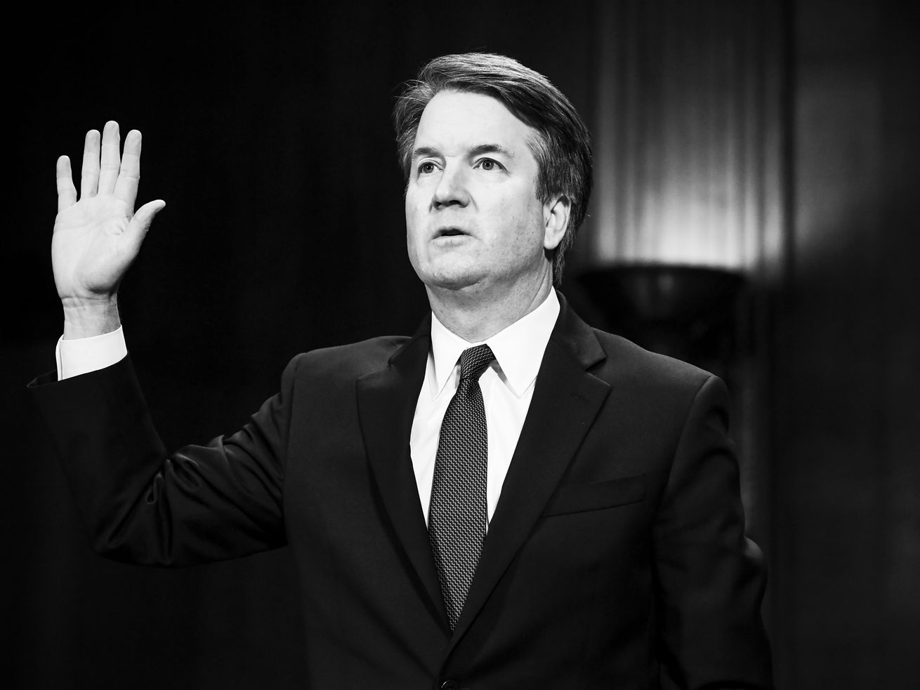 Brett Kavanaugh is sworn in at a Senate Judiciary Committee hearing on September 27, 2018.