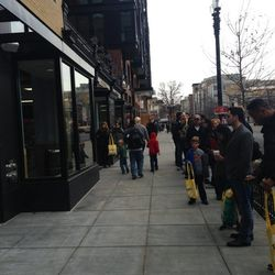 About 100 people lined up by 9 a.m. when the store opened.