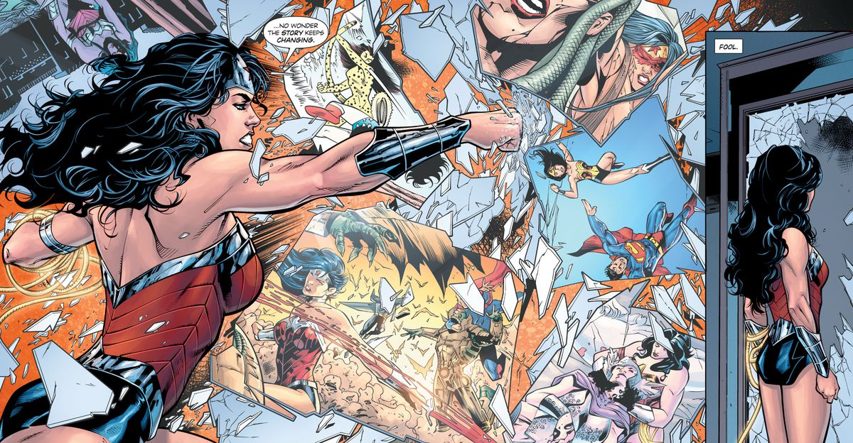"""Wonder Woman smashes a pane of glass, each fragment showing a different incarnation of herself through continuity. """"No wonder the story keeps changing, she says,"""" in Wonder Woman: Rebirth #1 (2016)."""