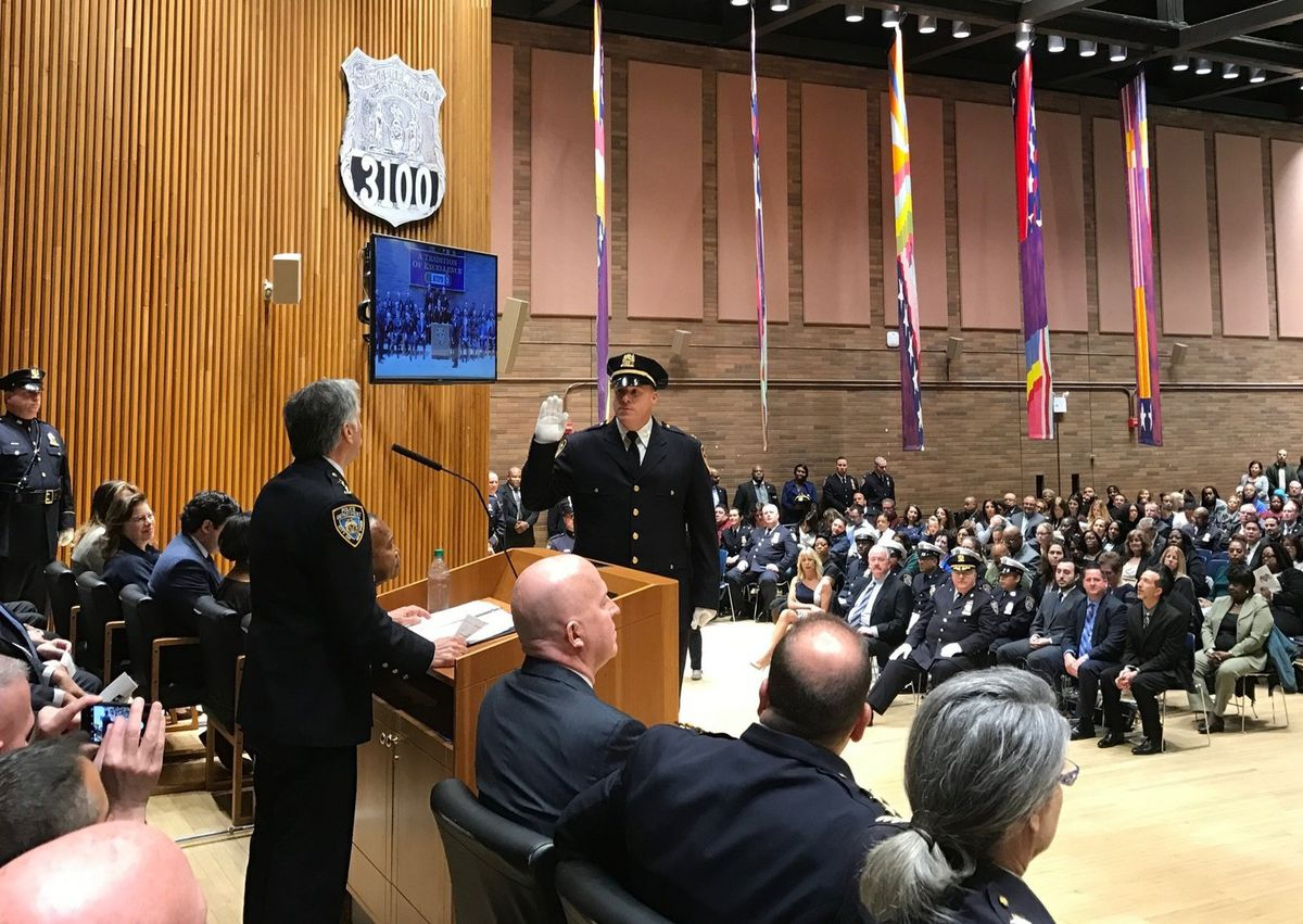 Christopher McCormack is sworn in as a deputy chief during a 2017 ceremony at Police Headquarters.