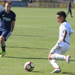 Darius Lewis prepares to the cross the ball in the box