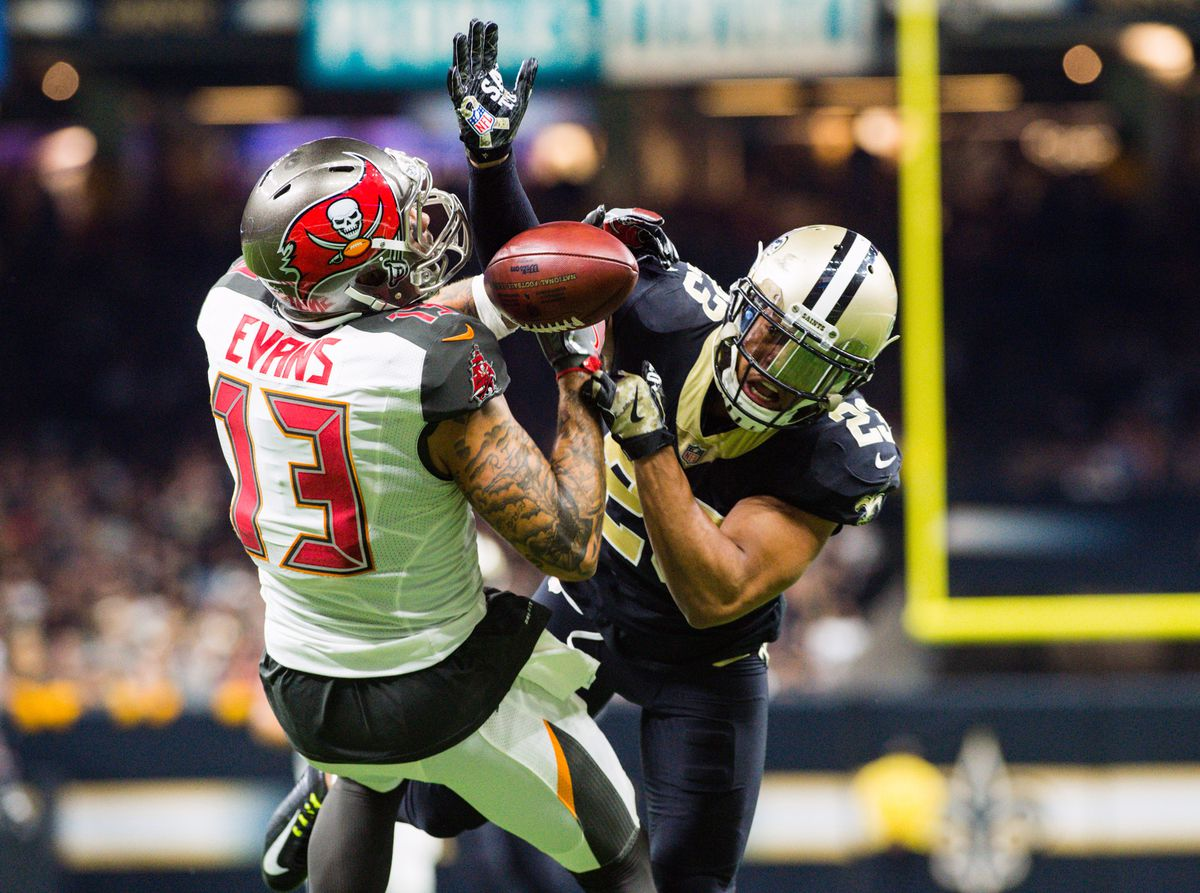 New Orleans, LA, USA; New Orleans Saints cornerback Marshon Lattimore  breaks up a touchdown pass thrown to Tampa Bay Buccaneers wide receiver  Mike Evans at Mercedes-Benz Superdome.