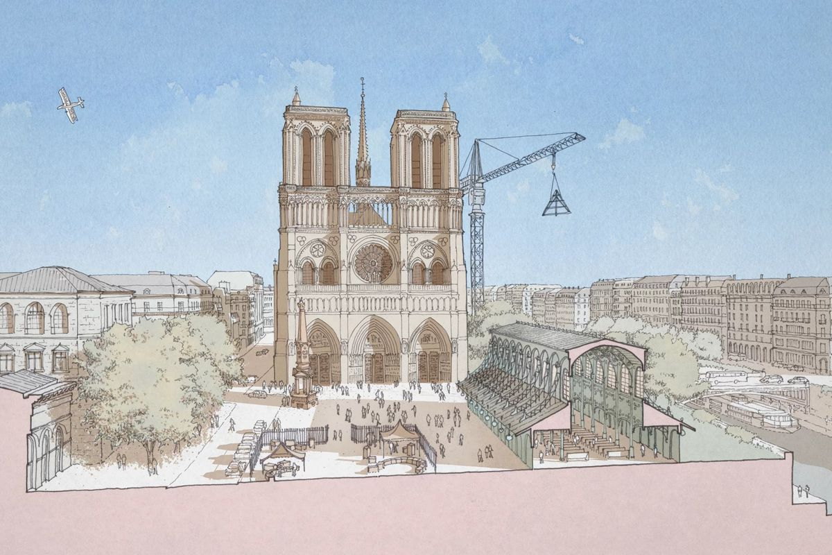 a rendering of a restored cathedral