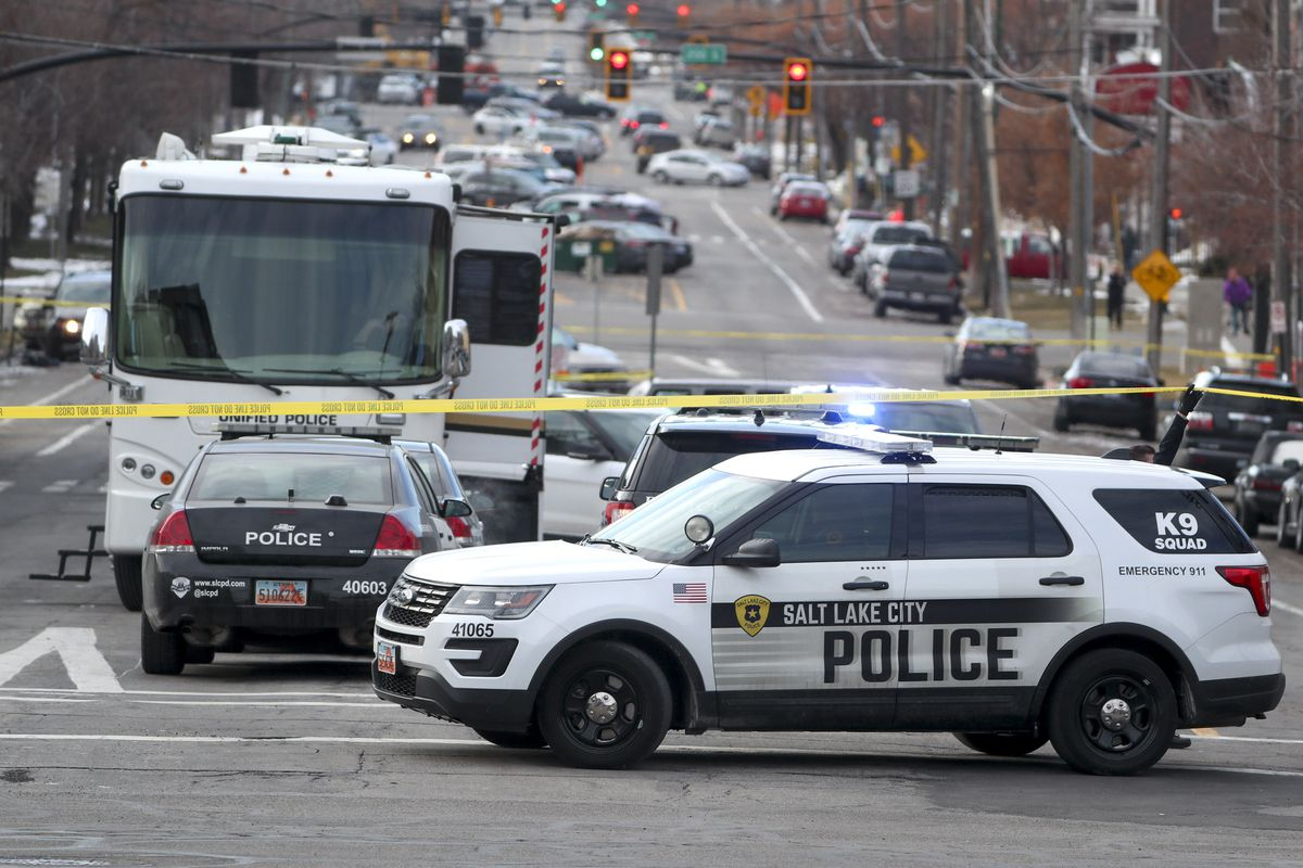 Police investigate an officer-involved shooting after responding to a downtown disturbance in Salt Lake City, Monday, Feb. 10, 2020.
