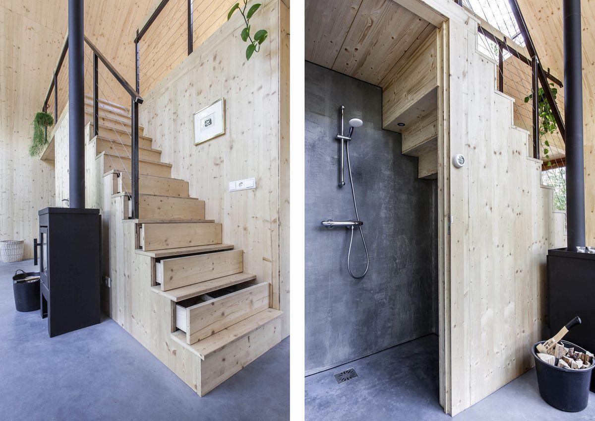Bathroom hidden under stairs.