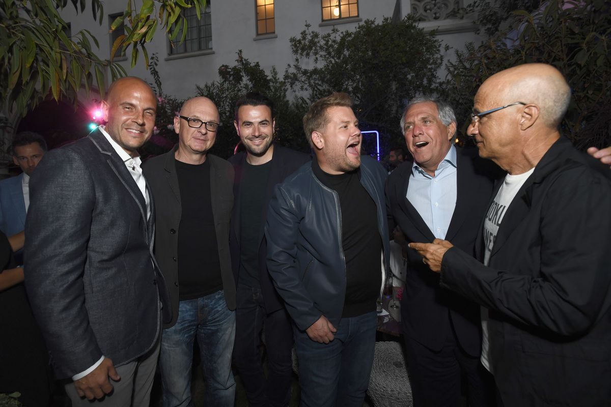 Les Moonves other CBS personalities and producers at an event for James Corden's carpool karaoke in August 2017.