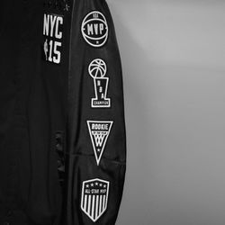 Each player's jacket will be customized with patches representing his individual achievements—whether he's been voted Rookie of the Year, whether he's played in the NBA championships, and so forth. Black stars above the NYC 15 on the chest will denote how