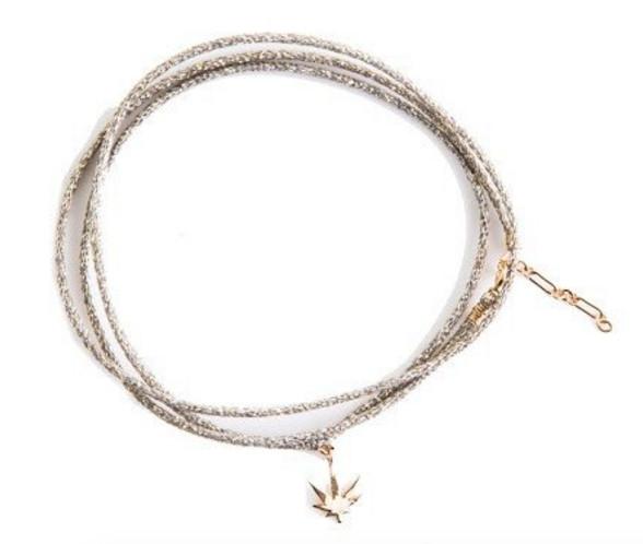 Gold wrap bracelet with marijuana leaf charm