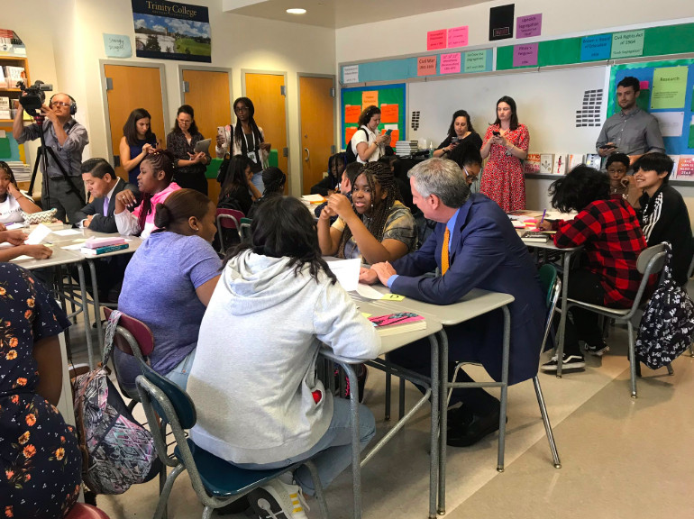 The mayor and chancellor visit an AP for All class in Brooklyn