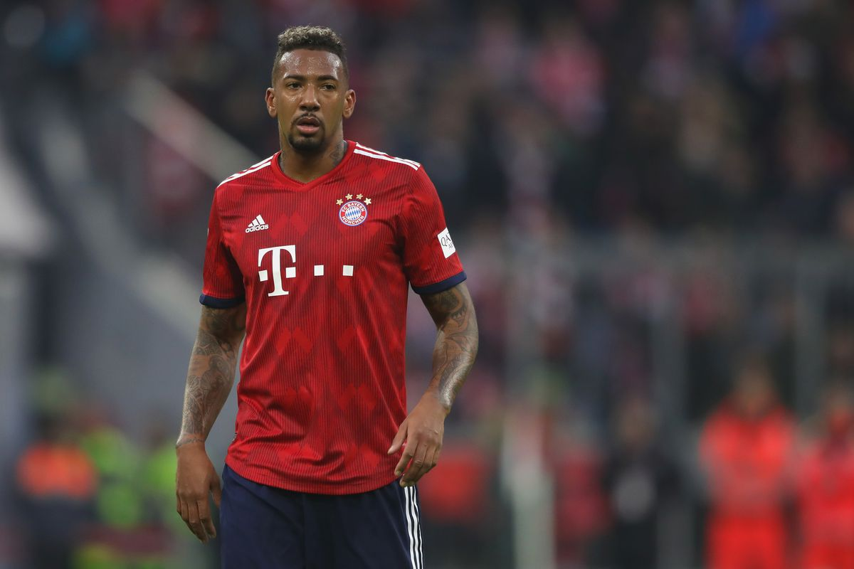 MUNICH, GERMANY - NOVEMBER 24: Jerome Boateng of Bayern Muenchen looks on during the Bundesliga match between FC Bayern Muenchen and Fortuna Duesseldorf at Allianz Arena on November 24, 2018 in Munich, Germany.