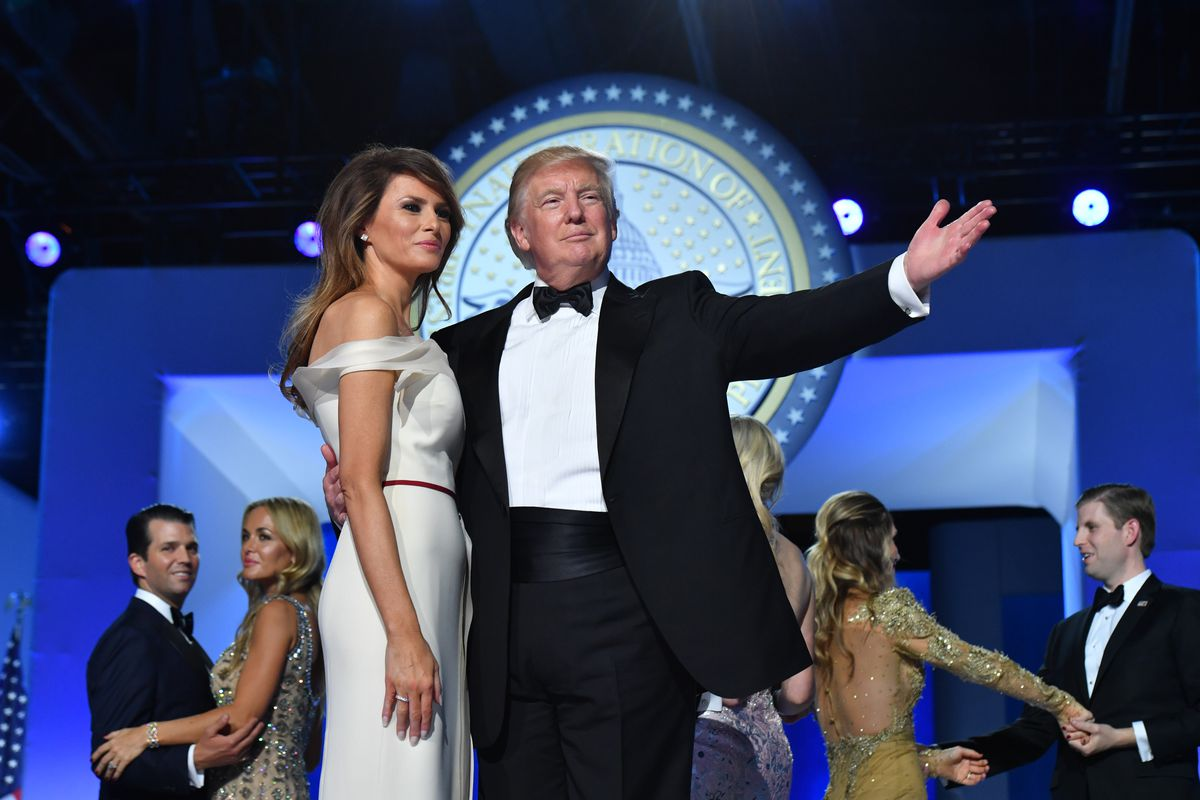 President Donald Trump and First Lady Melania Trump dance at the Freedom Ball on January 20, 2017 in Washington, DC.