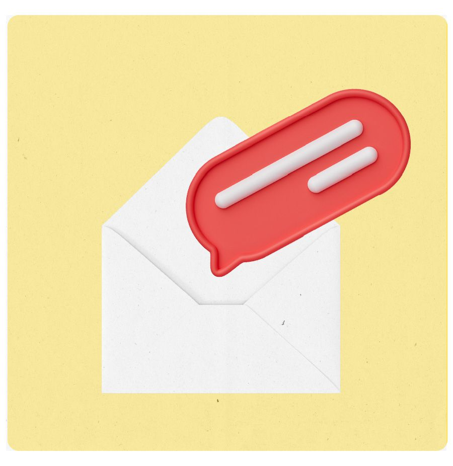 An illustration of an open envelope with a word bubble coming out of it.