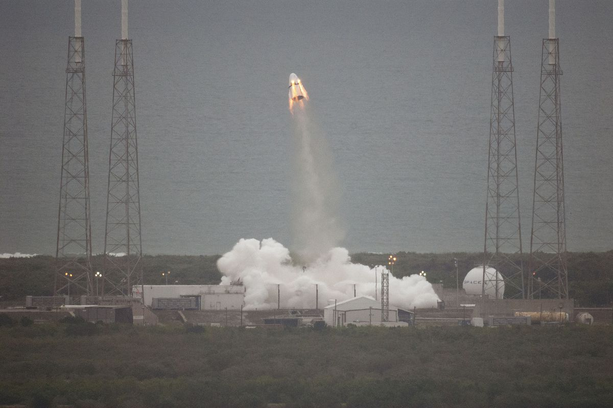 The SpaceX Dragon V2, during a test of its abort system.