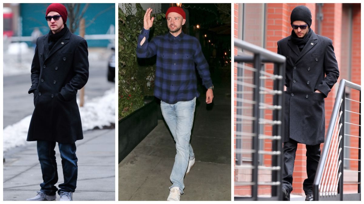 81863b32 And finally, JT in a beanie. Ray Tamarra/Getty Images; GotPap/Getty Images;  Christopher Peterson/Getty Images