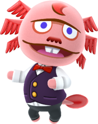 a pink axolotl wearing a button up vest