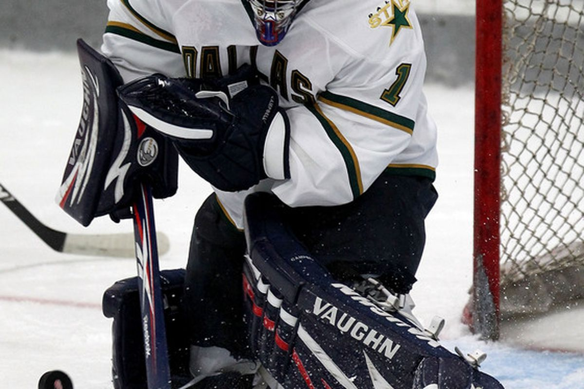 TRAVERSE CITY MI - SEPTEMBER 11: Jack Campbell #1 of the Dallas Stars makes a save during NHL Prospects Tournament on Saturday September 11 2010 at Centre Ice Arena in Traverse City Michigan.  (Photo by Dave Reginek/Getty Images)