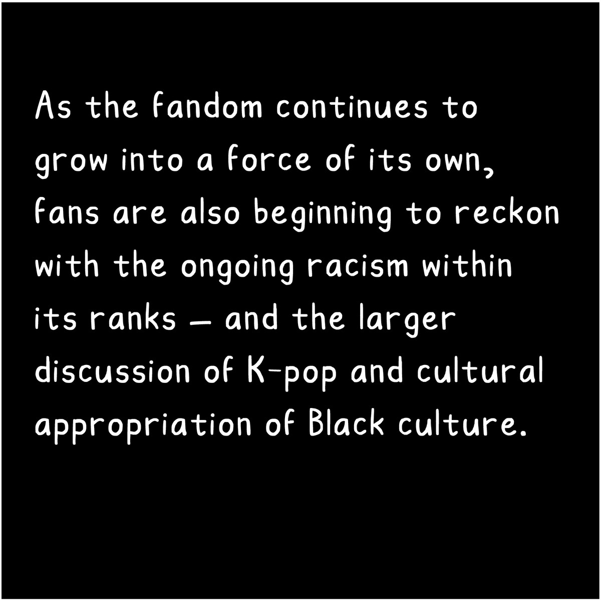 As the fandom continues to grow into a force of its own, fans are also beginning to reckon with ongoing racism within its ranks — and the issue of cultural appropriation of Black culture.