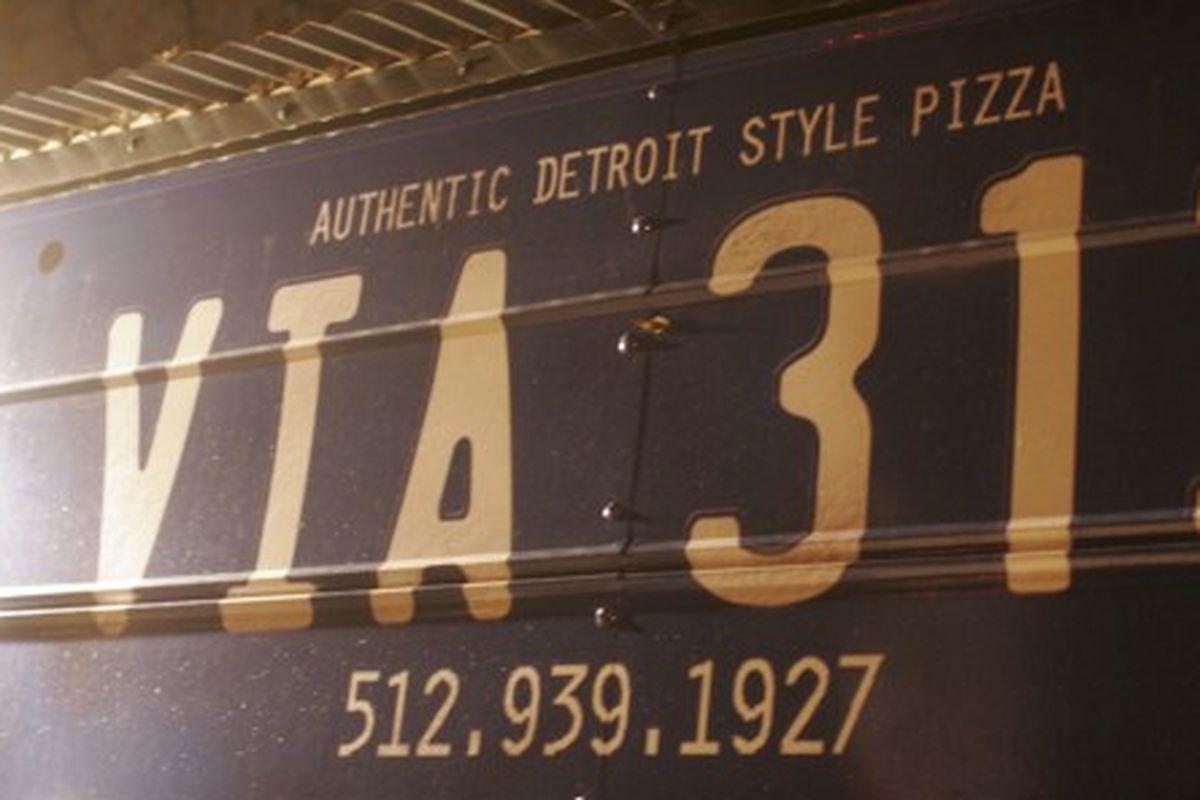The Via 313 truck in Austin serves Detroit-style pizza.