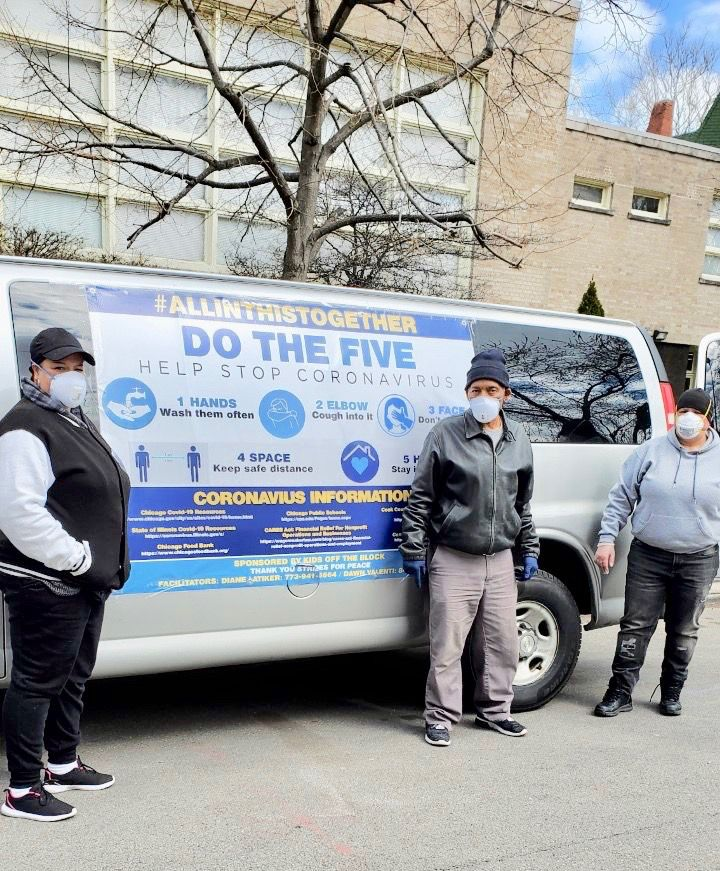 "Since March 31, Kids Off The Block founder Diane Latiker and volunteers with her ""Resource & Response Project"" have been daily riding around the city, doling out food and critical COVID-19 information and supplies to vulnerable populations, including the homeless and others on the streets."