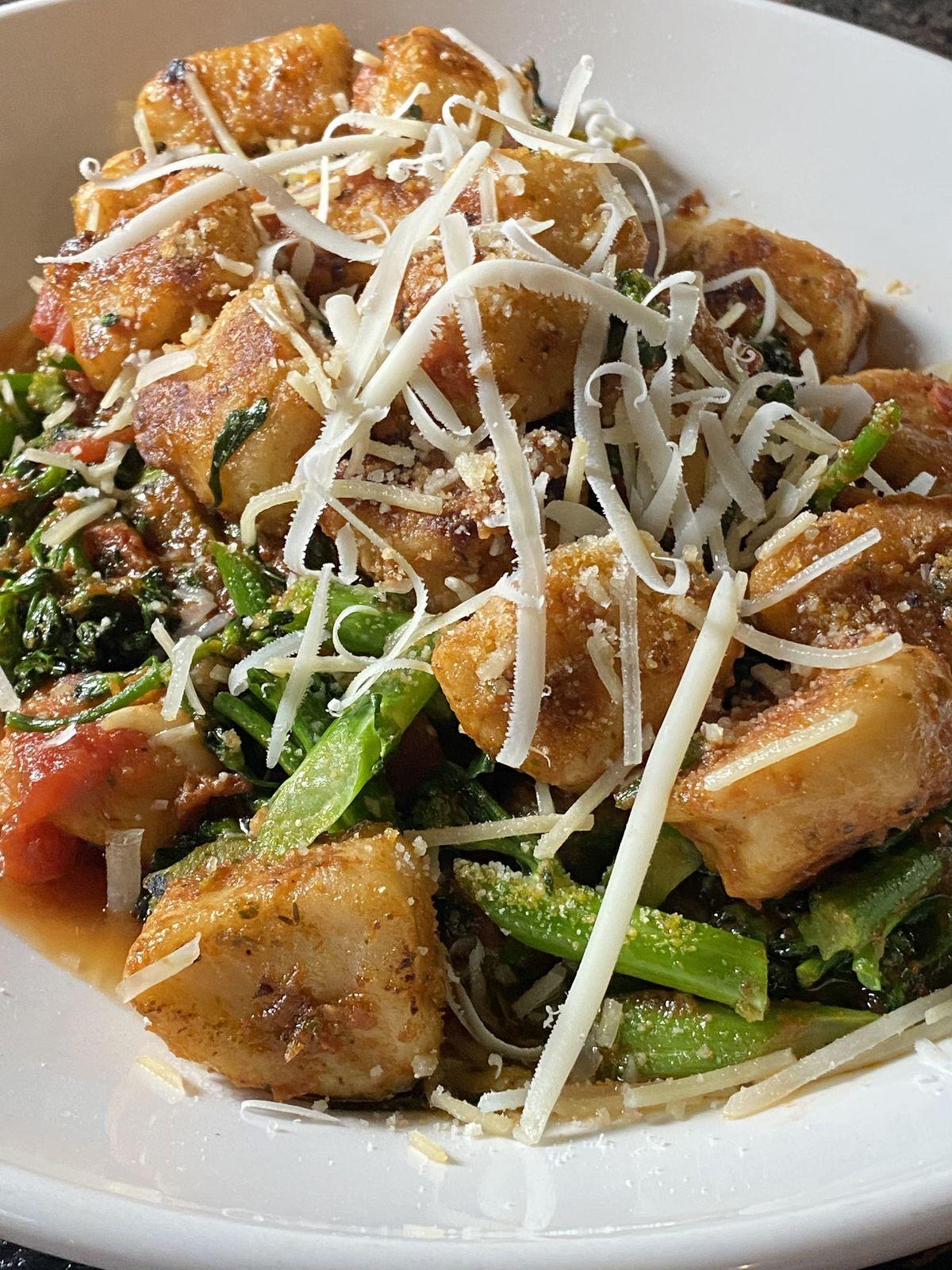 Gnocchi with broccolini, spinach, marinara, and pesto from Granville Moore's