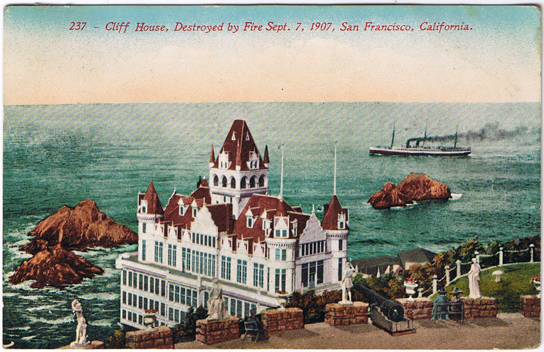 A painted postcard of the second Cliff House, with spires and towers.