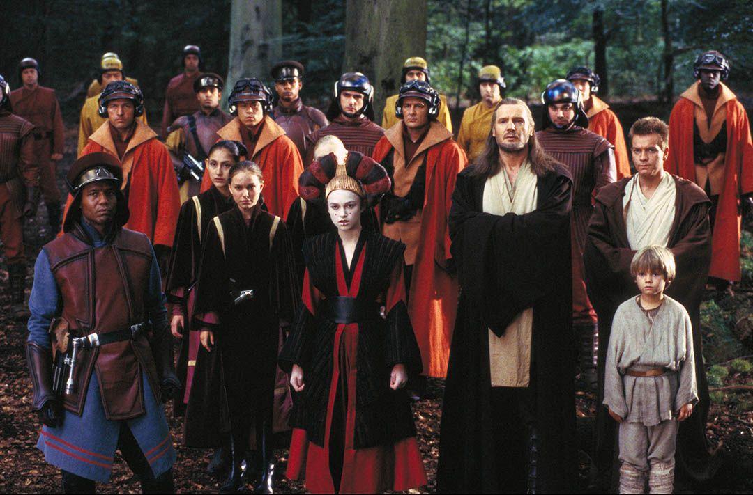 Captain Panaka (Hugh Quarshie), Jar Jar Binks (Ahmed A.Best) (to be computer generated), Queen Amidala (Handmaiden Sabe, Keira Knightley), Anakin Skywalker (Jake Lloyd), Qui-Gon Jinn (Liam Neeson), Obi-Wan Kenobi (Ewan McGregor), Padme (Natalie Portman)