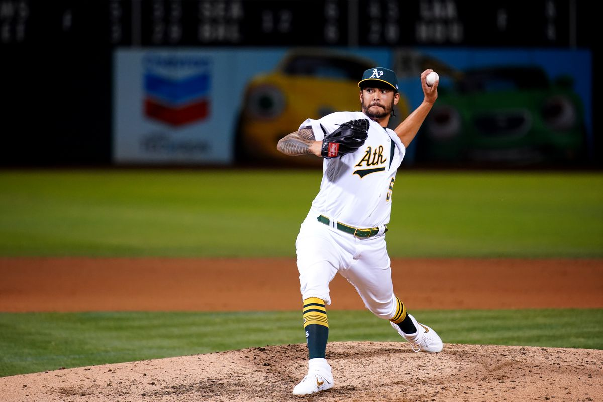 Sean Manaea of the Oakland Athletics pitches against the Texas Rangers at Oakland Coliseum on Saturday, September 21, 2019 in Oakland, California.