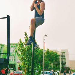Our intern Mark made it to the top of the pole!