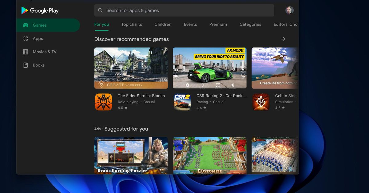 Here's how to get the Google Play Store running on Windows 11