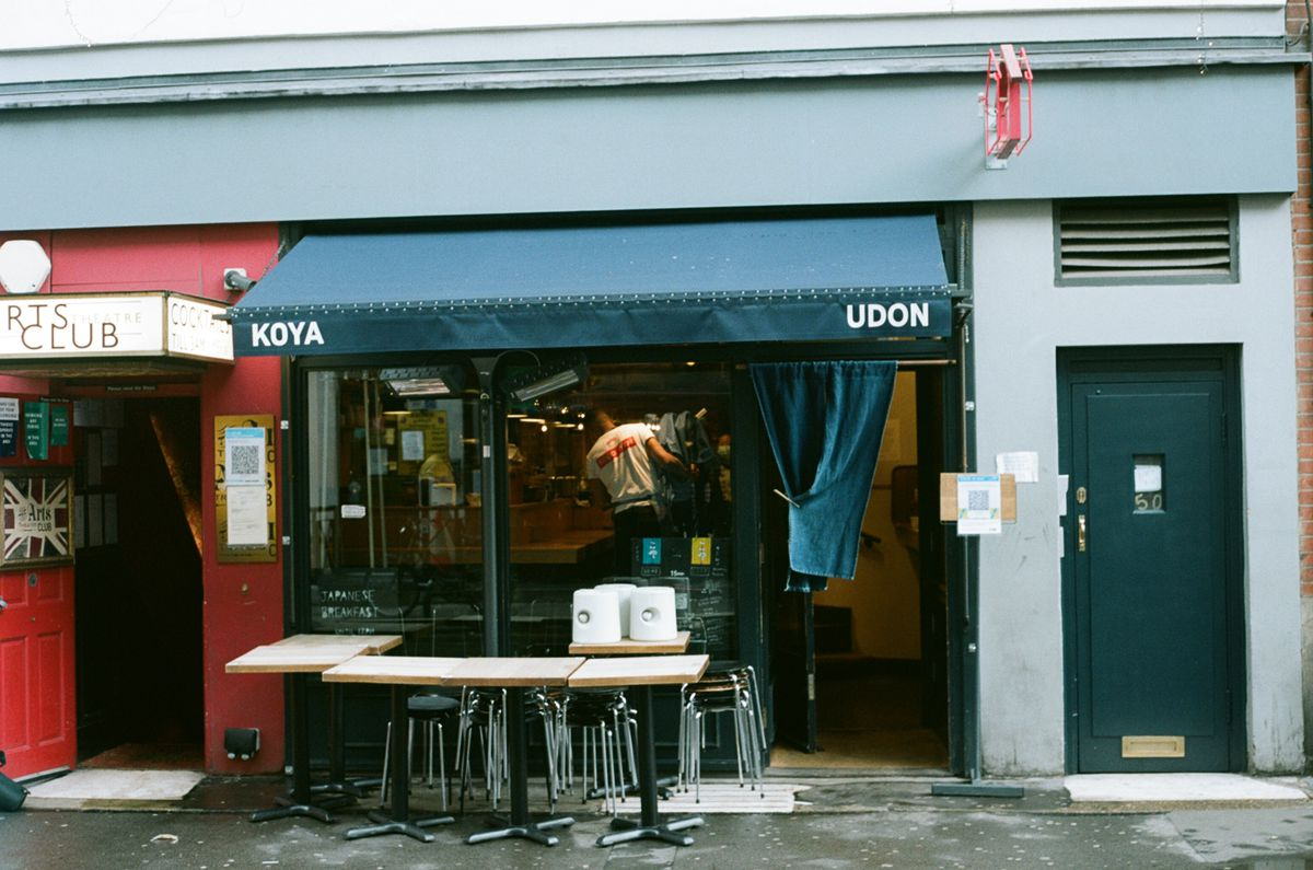 Koya Soho has remained closed since Christmas but opened again on 17 May. Tables lay unset outside the front of the restaurant