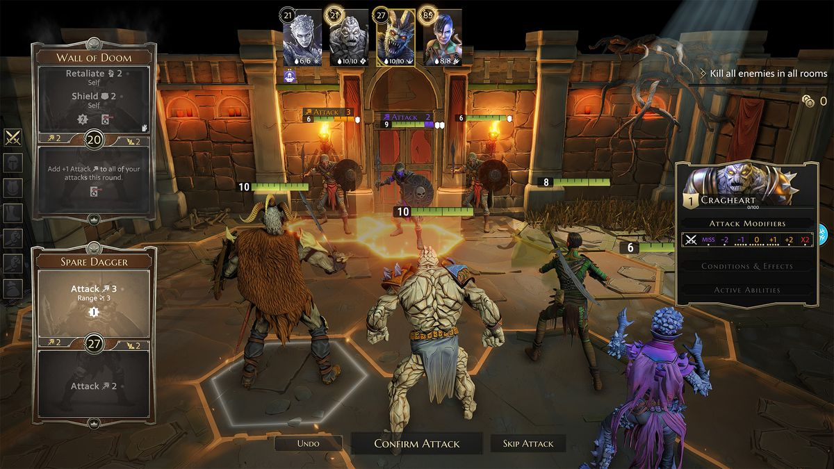 Four characters — a barbarian, a rock monster, a rogue, and a magic user — square off against three enemies wielding curved swords and skull shields in Gloomhaven. Steam Early Access, July 2019.