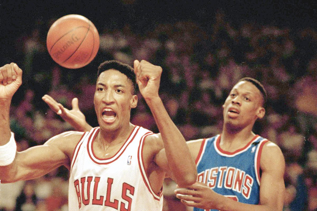 The Bulls' Scottie Pippen stands near the Pistons' Dennis Rodman during the 1991 NBA Eastern Conference finals.