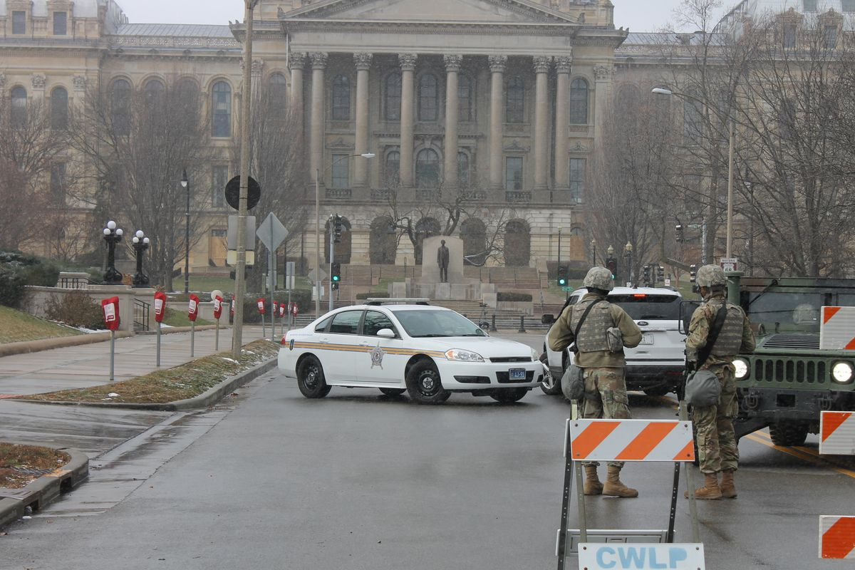 Extra protection at the Illinois State Capitol in Springfield on Sunday, Jan. 17, 2021 included the National Guard.