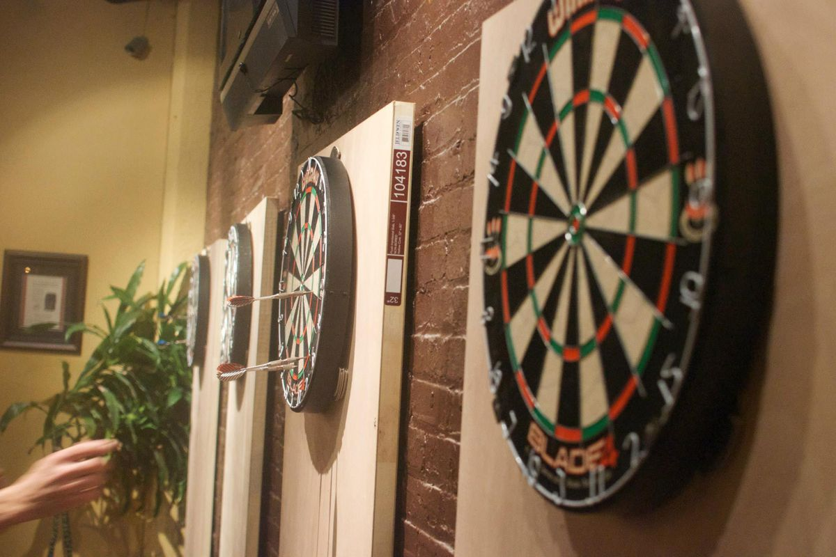Dart boards at the Victor Pub means fun for CYSC supporters (photo provided by Gerhardus Van Wilgen)