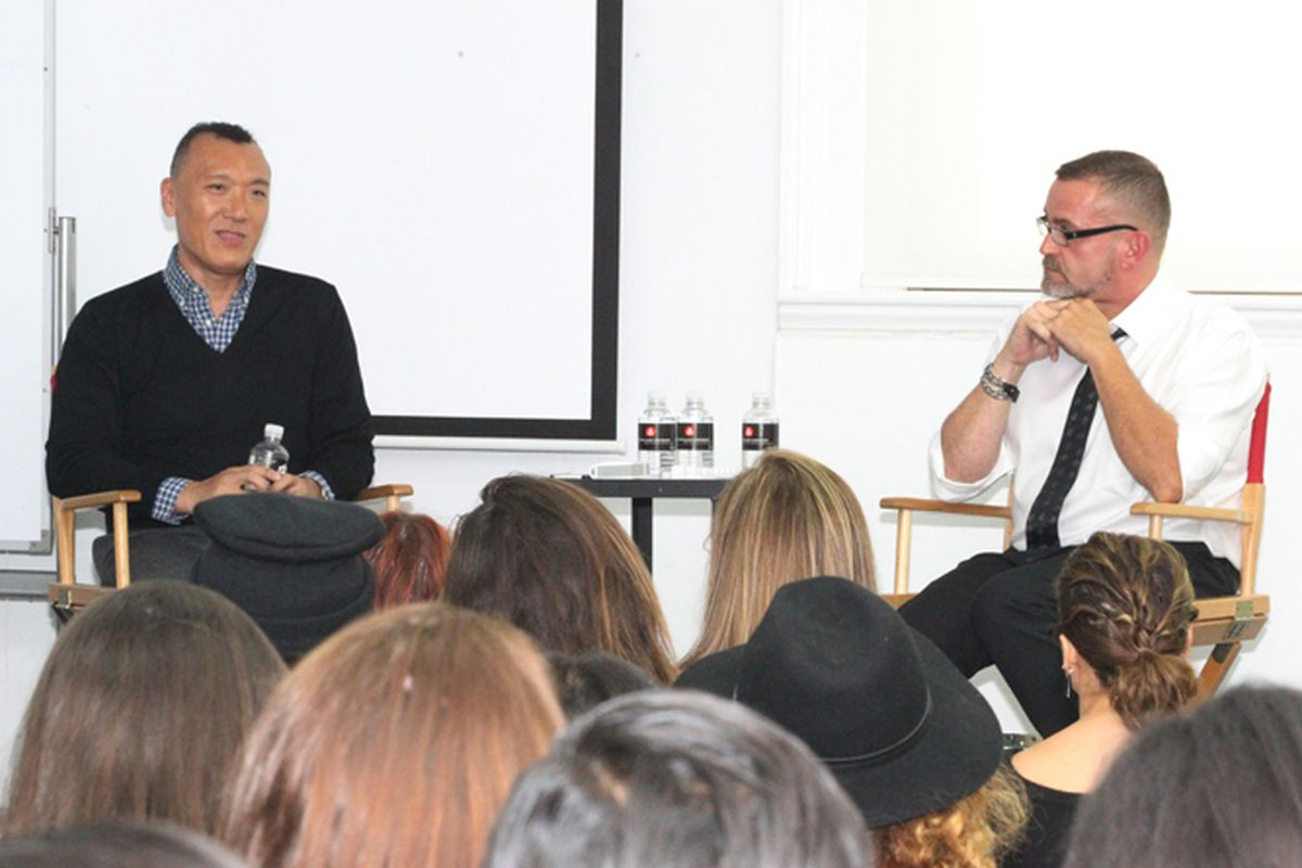 "Joe Zee, Editor in Chief of Yahoo Style, with Simon Ungless, Executive Director of the School of Fashion; photo via <a href=""http://academyart.edu/"">AAU</a>"