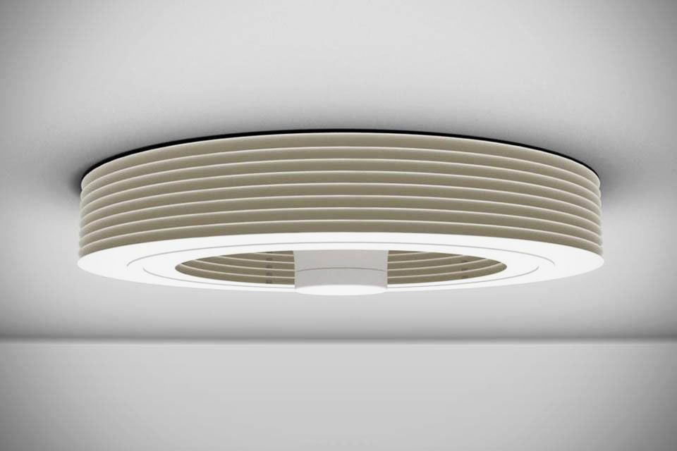 Round white ceiling fan.