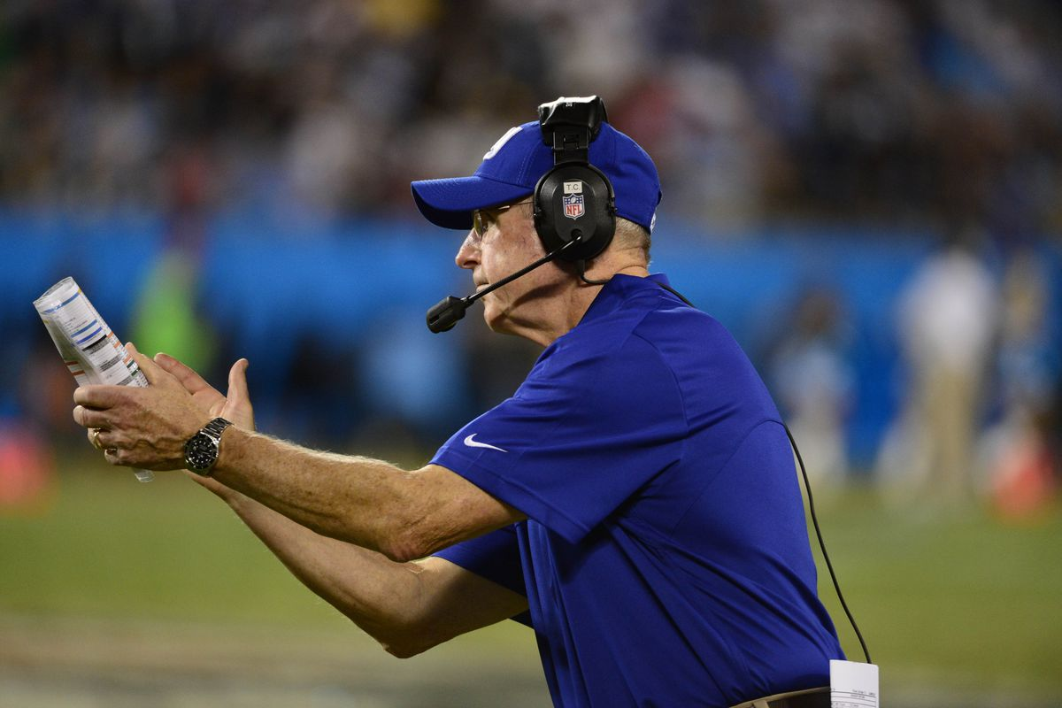 Sep 20, 2012; Charlotte, NC, USA; New York Giants head coach Tom Coughlin reacts during the second half. The Giants defeated the Panthers 36-7 at Bank of America Stadium. Bob Donnan-US PRESSWIRE