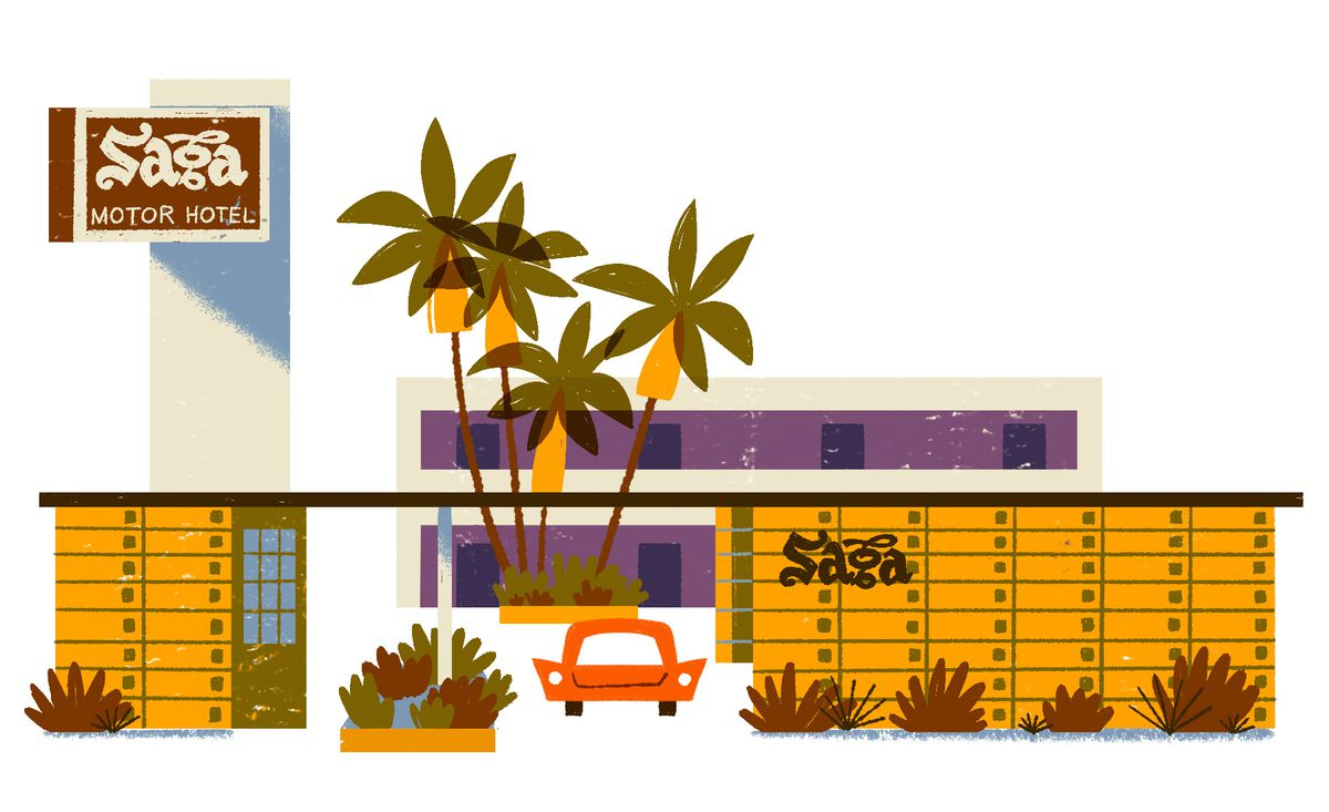 A single-story geometric building with a flat roof and a passthrough for cars in the center. In the background there is a tall vintage sign, a boxy two-story building, and a cluster of palm trees. A car is parked in the passthrough. Illustration.