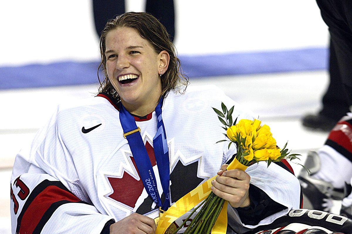 Canadian goalkeeper Kim St-Pierre celebrates her t