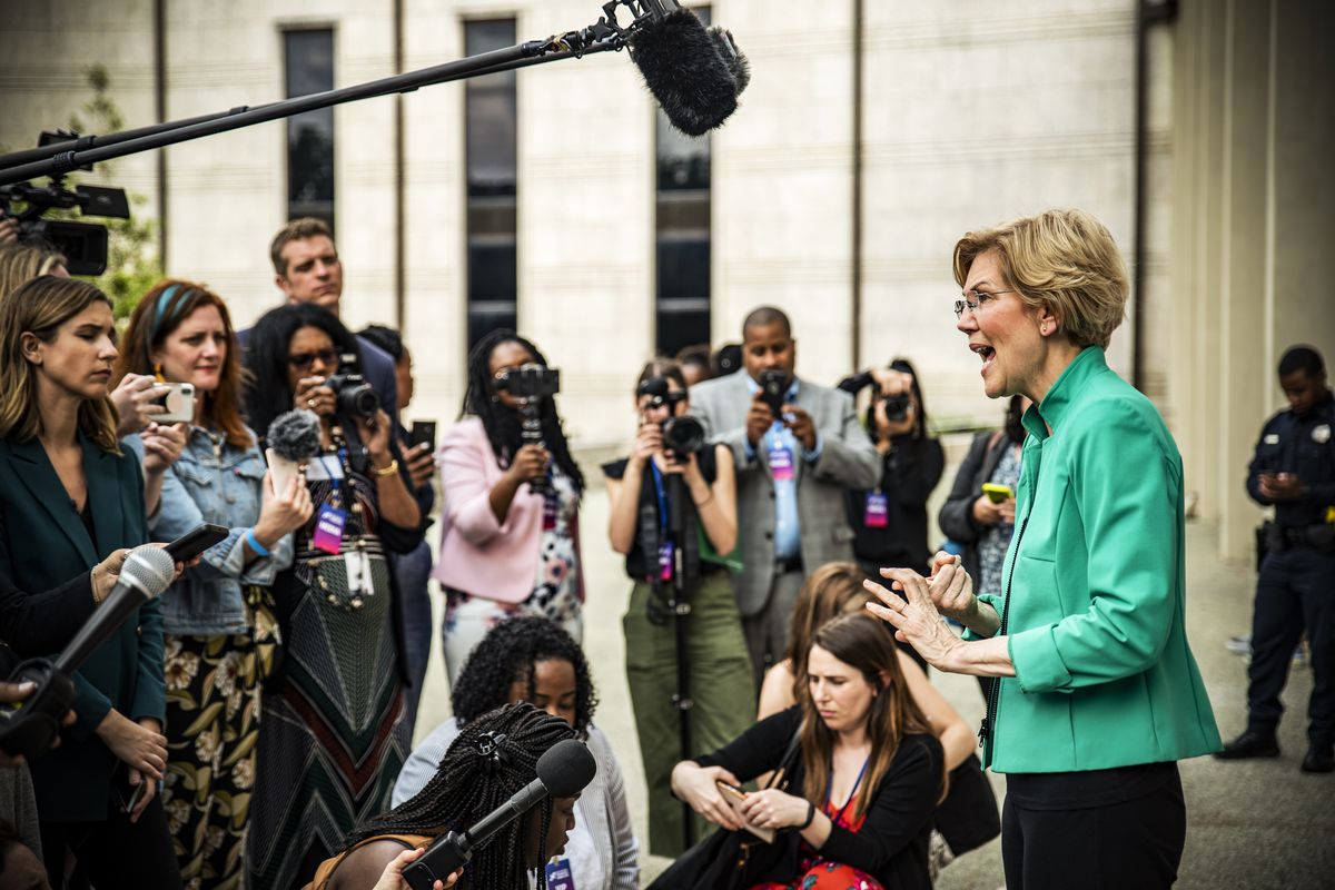 Democratic presidential candidate Sen. Elizabeth Warren (D-MA) speaks to members of the media after the She The People Presidential Forum in Houston, Texas, on April 24, 2019.