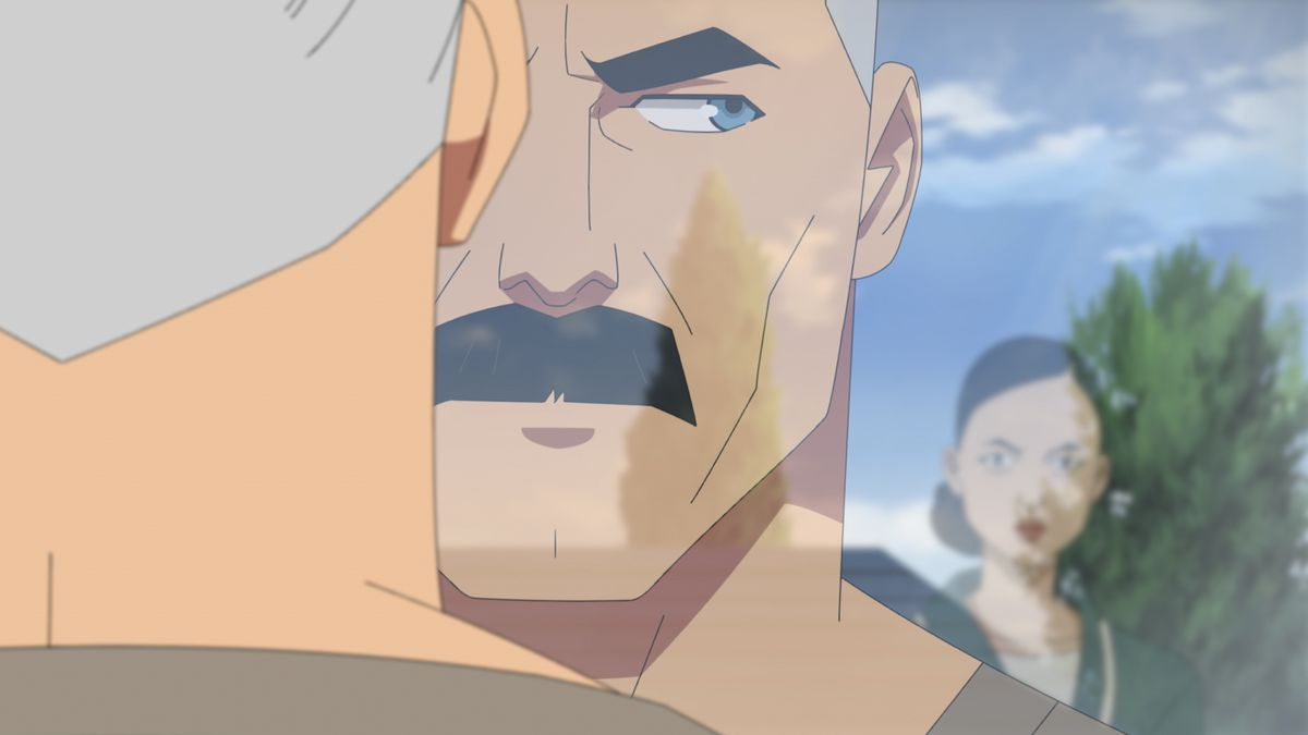 Nolan Grayson looks at his wife Debbie in the reflection of a window in an episode of Invincible
