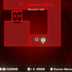 Luigi's Mansion 3 7F yellow gem location in the elevator hall.