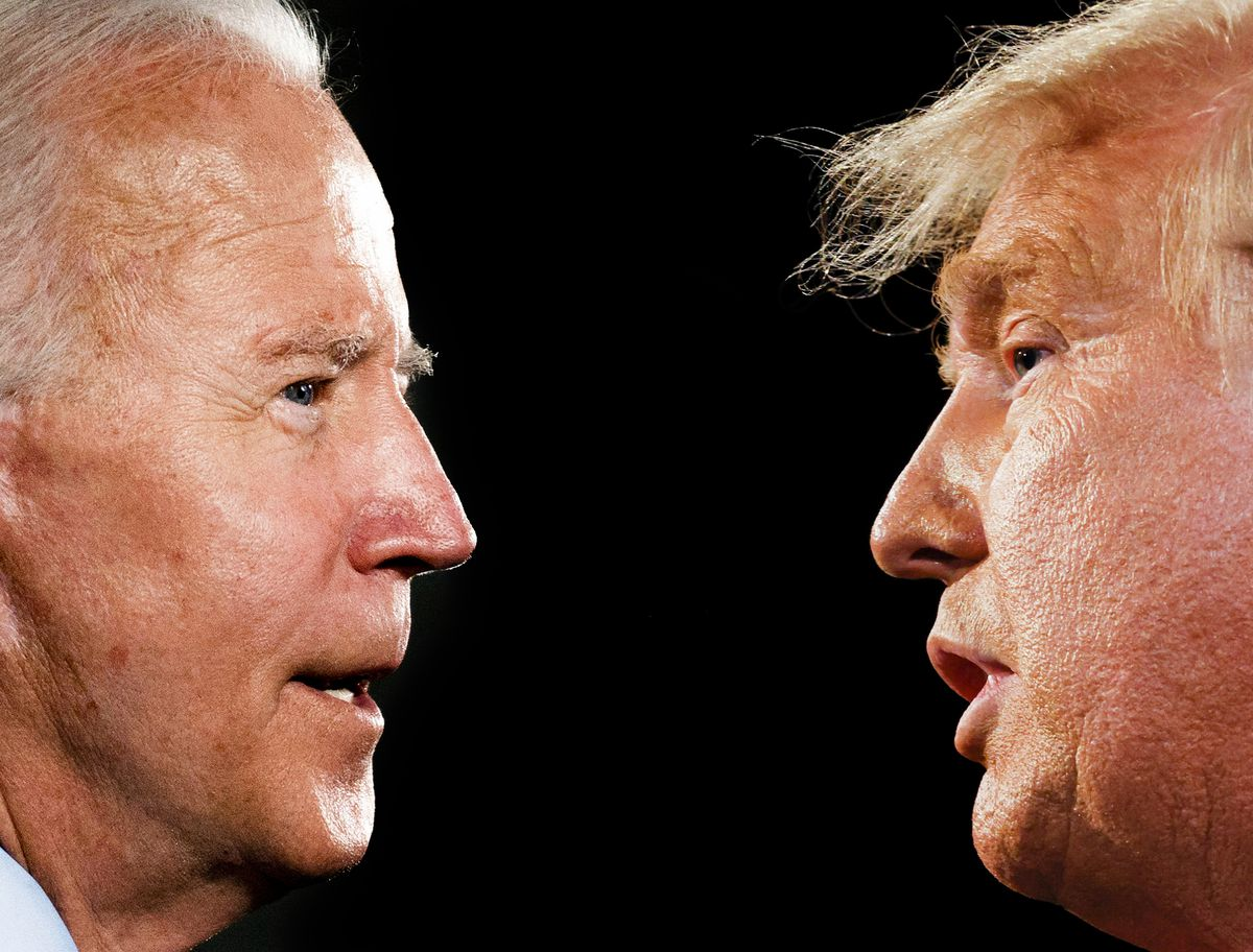 A photo collage: on the left, Biden is seen in profile — he is well lit, his nose slightly red and his cheeks ruddy. On the right, Trump in profile, also well lit, his skin highly tanned, his blonde hair jutting out over his forehead. Between them, empty black space.