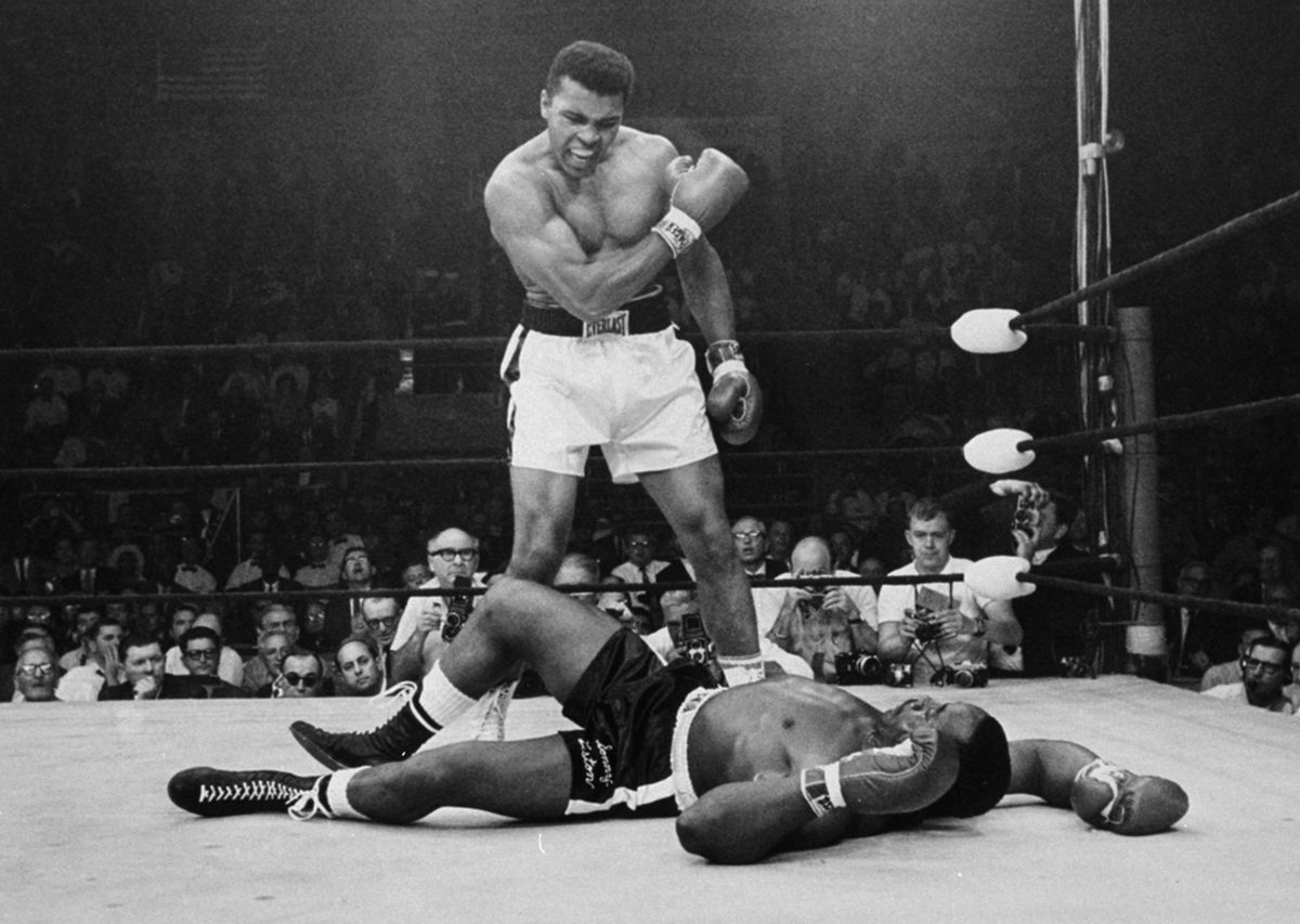 Muhammad Ali, seen here in 1965 after dropping Sonny Liston, is mentioned in FBI files concerning his connection to the Nation of Islam and his opposition to the military draft.