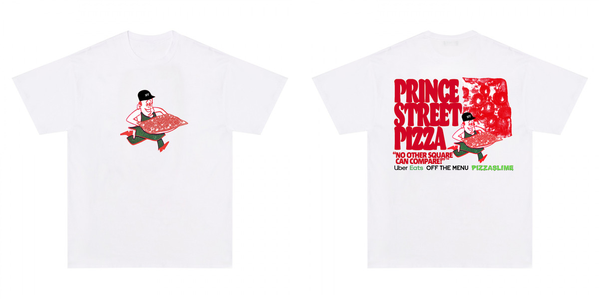 Collaboration shirts for Prince Street Pizza.